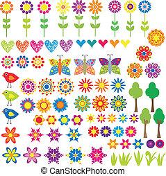 coeur, fleur, animal, collection