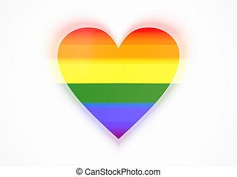 coeur, gay, drapeau, rendre, couleurs, 3d