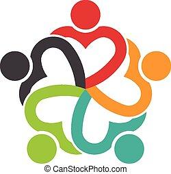 coeur, gens, collaboration, social, 5, amitié