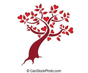 coeur, illustration, arbre