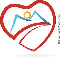 coeur, logo, montagne
