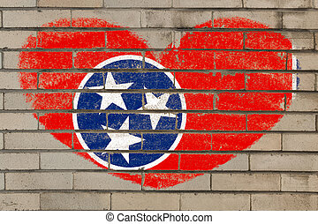 coeur, mur, forme, drapeau, tennessee, brique
