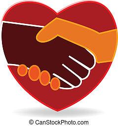coeur, poignée main, logo