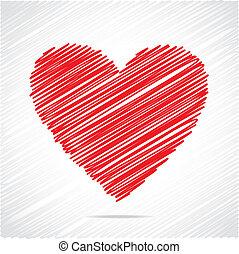 coeur rouge, croquis, conception