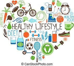 coeur, style de vie, régime, signe, fitness, sain