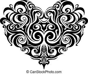coeur, tribal, tatouage
