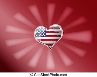 coeur, uni, drapeau, forme, état, amérique