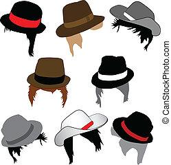 coiffures, chapeaux, mode, -, mâle