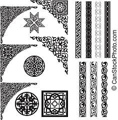 coins, arabe, ornement, diviseur