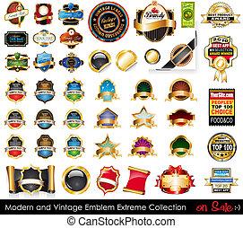 collection., emblèmes, extrême, moderne, vendange