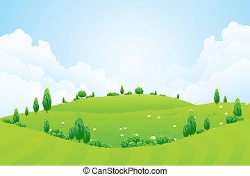 collines, fleurs, fond, herbe, arbres, vert