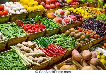 coloré, légumes, fruit, divers, fruits, frais, marché