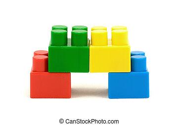 coloré, plastique, briques, jouet, quatre