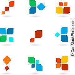 coloré, symboles, illustration, ensemble, vecteur, six