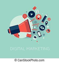 commercialisation, concept, illustration, numérique