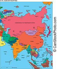 comonwealth, indépendant, russie, noms, asie, etats