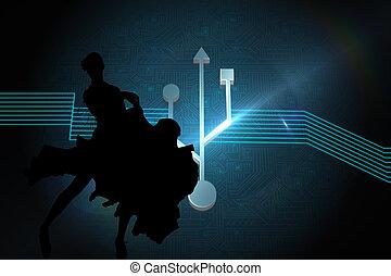 composite, brillant, connexion, signe, image