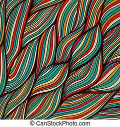 composition., ondulé, hairs., coloré, feuille, résumé, regarde, gabarit, eau, arrière-plan., hand-drawn, vecteur, enchevêtré, maritime., mer, vagues, texture, design., vagues, toile de fond, aimer