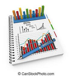 comptabilité, cahier, concept