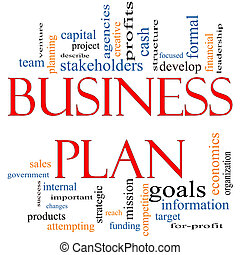 concept affaires, mot, plan, nuage