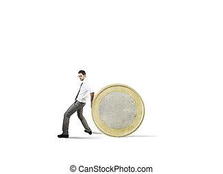 concept, argent économie, difficulté, coin., homme affaires, mouvements