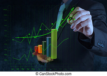 concept, business, écran, diagramme, virtuel, main, informatique, toucher, homme affaires, dessin
