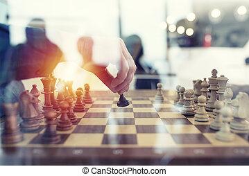 concept, business, bureau., travail, association, jeu, ensemble, collaboration, strategy., hommes affaires, échecs, tactique, double exposition