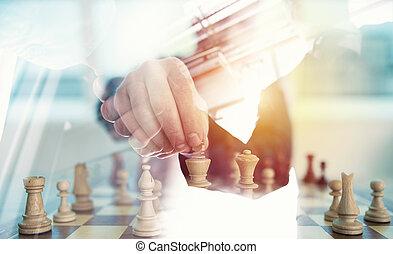 concept, business, double, défi, stratégie, personne, jeu, échecs, bureau., tactic., poignée main, exposition