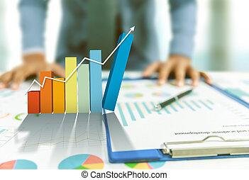 concept, business, graphique, croissance, levée, homme affaires, présent