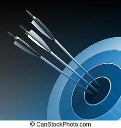 concept, centre, reussite, -, flèches, frapper, business, cible