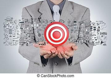 concept, cible, stratégie commerciale, main, homme affaires, signe, 3d