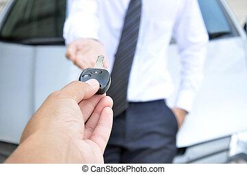 concept, clã©, service, &, donner, voiture, -, vente, main, autre, loyer, homme