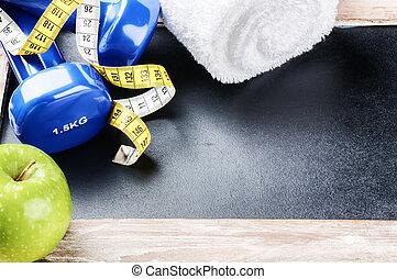 concept, dumbbells, pomme verte, fitness
