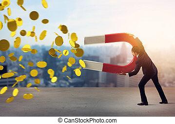 concept, gagner, grand, magnet., captures, success., argent, homme affaires