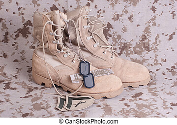 concept, nous, uniforme, armes feu, camouflé, bottes, soldats marine
