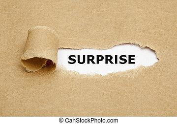 concept, surprise, papier déchiré