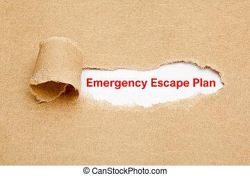 concept, urgence, papier déchiré, plan, évasion