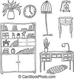 conception, ensemble, -, éléments, meubles