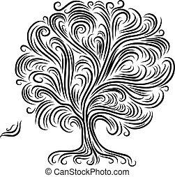 conception, résumé, arbre, ton, racines