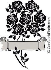 conception, roses, blanc, élément, noir