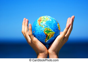 conceptuel, globe terre, image, hands.
