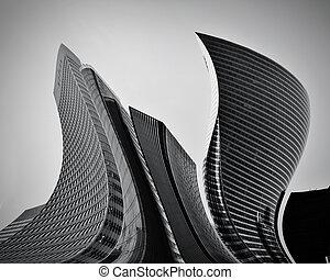 conceptuel, résumé, gratte-ciel, business, architecture