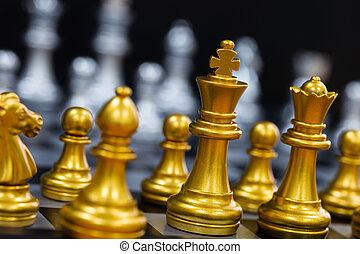 concurrence, concept, strategy., échiquier, noir, intelligence, arrière-plan., business, éditorial, play., reussite, marché, défi, isolé, échecs, roi, jeu, bataille, cible, stand