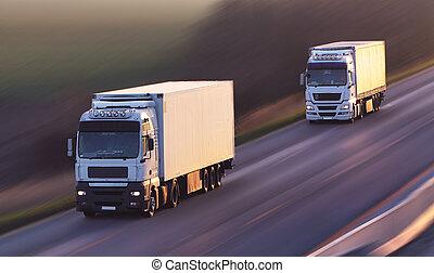 conduite camion, asphalte, route rurale, paysage, coucher soleil