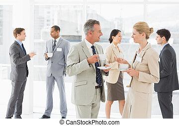 conférence, affaires gens, bavarder