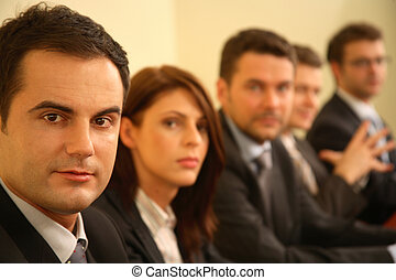 conférence, business, -, personnes, cinq, portrait