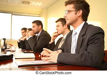 conférence, personnes, cinq, business