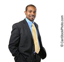 confiant, américain, africaine, homme affaires