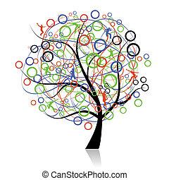 connecter, peuples, arbre, toile