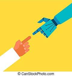 connexion, robotique, mains humaines